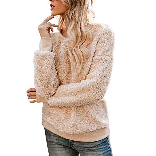 Damen Mantel Feste reißverschlüsse Rollkragen Bluse Fleece Sweatshirt Pullover Tops Shirt einfarbig Mantel lässig plüsch top t Shirt