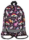 Aminata Kids - Kinder-Turnbeutel für Mädchen mit Unicorn Sache-n Pferd-e Haus-Tiere Einhorn Sport-Tasche-n Gym-Bag Sport-Beutel-Tasche braun