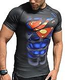 Spiderman |Batman | Superman | Hulk | Captain America Kompressionsshirt für Herren / Maenner (Sport-Shirt Funktionsshirt T-Shirt) (Superman schwarz kurzarm, M)