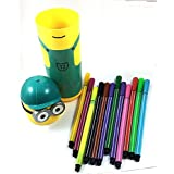 Grab Offers New Minion Shape Pencil Box Having Sketch Pen/Stationary Kit - 12 Pens | Birthday Party Return Gift For Kids (Minion Colour Box- 1 Case)