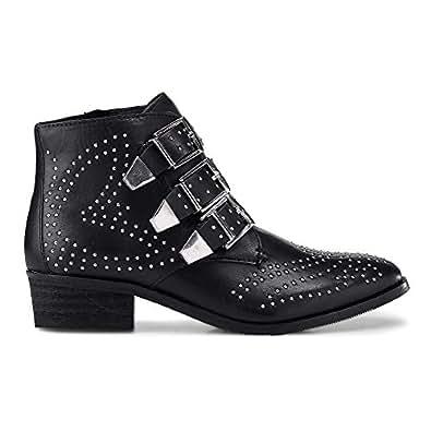Another A Damen Nieten-Boots schwarz Leder 38