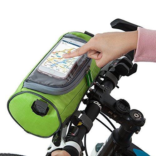 ZHIZU Fahrrad Lenkertasche Smartphone Speicherhalter mit Touchscreen transparent PVC Fahrrad Telefonhalter für iPhone 7 7 Plus SE 6s 6 Plus 6 5s 5 4s 4 Samsung Galaxy S6 S5 S4 LG Nexus HTC LG (Green)