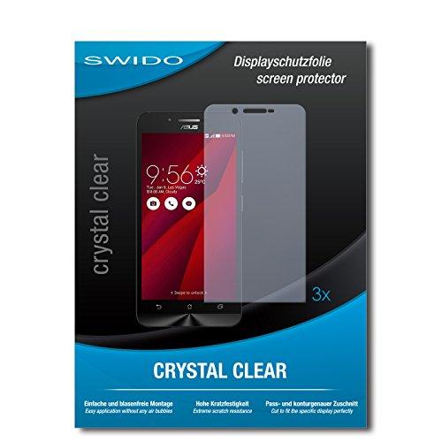 SWIDO Bildschirmschutzfolie für Asus ZenFone Go [3 Stück] Kristall-Klar, Extrem Kratzfest, Schutz vor Öl, Staub & Kratzer/Glasfolie, Bildschirmschutz, Schutzfolie, Panzerfolie