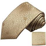 Paul Malone Krawatten Set 2tlg gold braun florale Seidenkrawatte + Einstecktuch