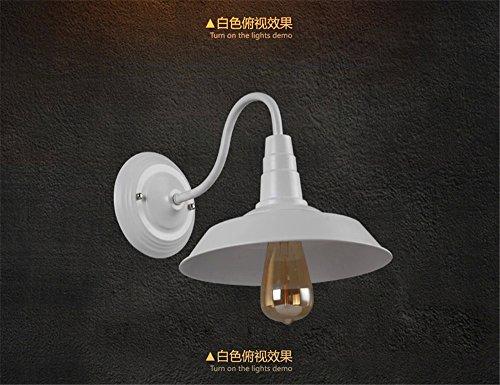 Lightoray E27 Appliques Murales Fer à Repasser industriel LOFT Vintage blanc diamètre 36cm Éclairage Mural pour Chambre Salon Bar Couloir Salle de Bains Escalier