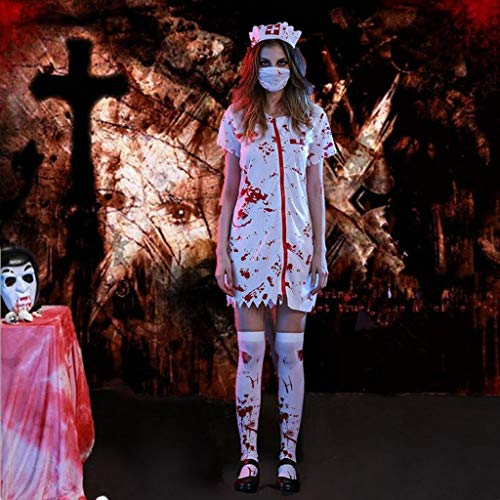 DYHOZZ Halloween Maskerade Party Kostüm Horror Männlichen Arzt Cosplay Anzug Horror Blutige Weibliche Krankenschwester Kleidung (Color : A, Size : L) (Männliche Maskerade Kostüm)