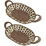 Baal Set Of 2 Pcs Eco-Friendly Hand Woven Decorative Basket And Decorative Trays Use As Serving Basket For Home Use, 20 Grams, Pack Of 1
