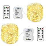 Homestarry 2 Pack Fairy Lights Fairy String Lights Battery Operated Waterproof 8 Modes Remote Control 66 Leds String Lights 16.4ft Silver Wire Firefly lights for Bedroom Wedding Festival Decor Warm White