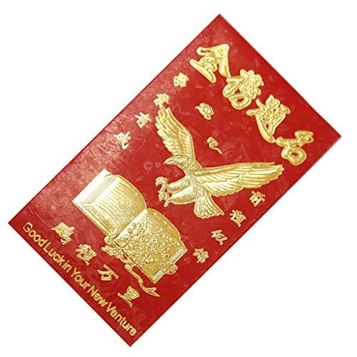 Baoblaze 60x Chinesischer Roter Umschlag mit Gold Buchstaben und Muster Bedruckt, ca. 9 x 17 cm - Großer Erfolg bei der Prüfung (Roter Umschlag Chinesisch)