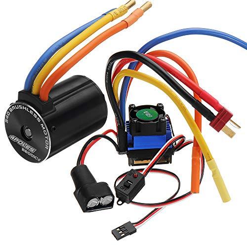 LWYANG Motore senza spazzole Rocket 540 Sensorless Rc for auto e 60A ESC for fuoristrada fuoristrada da 1/10 Strumento accessori giocattolo