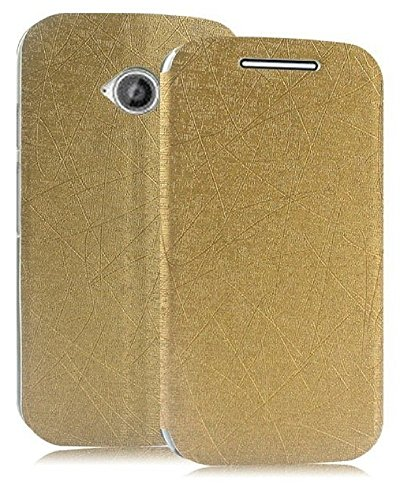 Heartly Premium Luxury PU Leather Flip Stand Back Case Cover For Motorola Moto E 2nd Generation / Moto E2 XT1505 - Hot Gold
