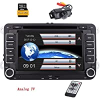 7 Inch Double 2 Din Car Stereo for VW Golf Skoda Seat with Wince System -EinCar DVD Player GPS Navigation FM AM RDS Radio Bluetooth Autoradio USB SD Support SWC 1080P Video Analog TV +8GB Map Card +Rear Camera
