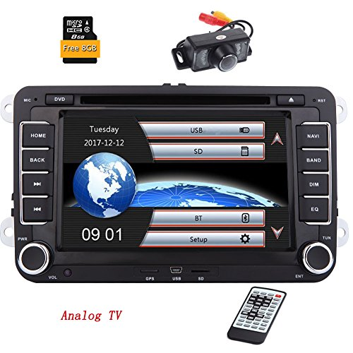 7-Zoll-Double 2 Lärm-Auto-Stereoanlage für VW Golf Skoda Sitz mit WinCE-System -EinCar DVD-Spieler GPS-Navigation FM AM RDS-Radio Bluetooth Autoradio USB SD Unterstützung SWC 1080P Video Analog TV + 8GB Karte Card + Rückfahrkamera