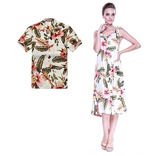 Pareja-Hawaiano-Combinacin-Luau-Equipo-Aloha-Camisa-y-Vestido-Melani-en-Crema-Rafelsia