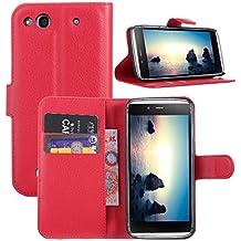 Guran® Funda de Cuero Para Alcatel OneTouch Idol Alpha (6032) Smartphone Tirón de la Cubierta de la Función de Ranura Tarjetas y Efectivo Caso