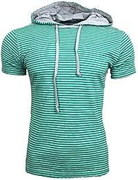 Polo T Shirt Herren gestreift Kapuze Schalkragen Männer Poloshirt Jungs A16580RN