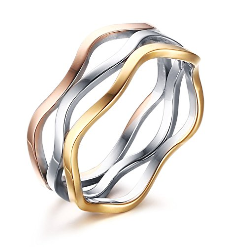 Vnox Frauen Edelstahl Dreiergruppen Verriegelungs Wellen Form unendlicher Liebes Band Ring,silberne Goldrose Türkis-band-knoten Halskette