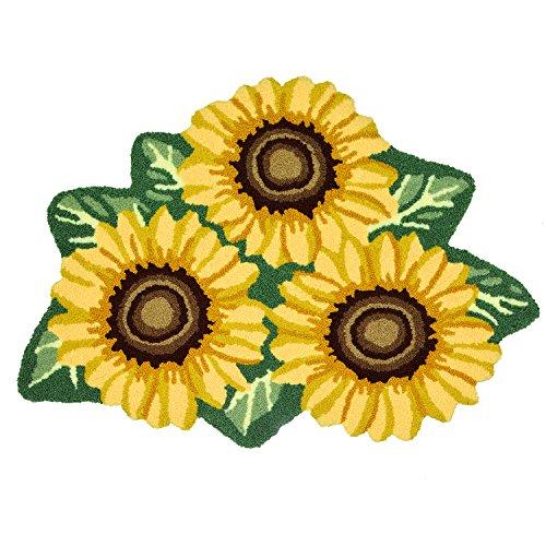 ustide 3Sonnenblumen Teppich handgefertigt Teppich gelb Blume Teppich Modern Teppich waschbar Badezimmer Matte Rutschfeste Boden Teppiche für Schlafzimmer/Foyer 3x 2