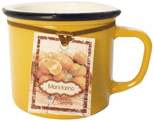 Kerzen von Aurora Marta Duftkerze in Vase von farbigem Glas mit Henkel, Wachs, gelb, 8.5x 8.5x 7cm