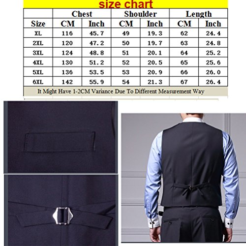 Zhhlaixing Moda Men Gentleman Suit Vest 4 Button Business Casual Plus Size Waistcoat /Size XXL-6XL Black