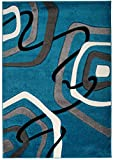 Kleiner Moderner Designer Teppich - Dichter Und Dicker Flor - Blau Grau Weiß - 80 x 150 cm - Abstraktes Muster - 3D-Effekt Konturenschnittt Orlando Kollektion von Carpeto
