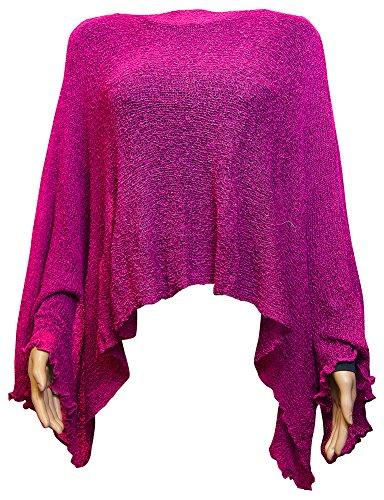 Damen Häkelspitze strecken Fisch-Netz Batwing Poncho (One Size, Hot Pink )