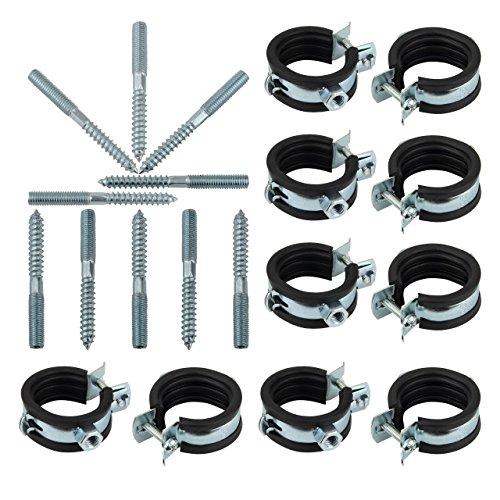 "Rohrschellen Set 32-35 mm 1\"" mit Stockschrauben M8 x 80 TX 25 | 10 Stück"