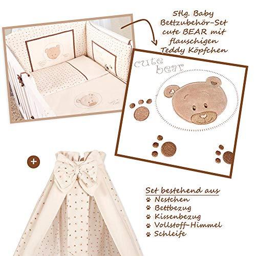Baby Bettzubehör-Set Cute Bear Teddy Beige 5-tlg. Babybettset Baumwolle Oeko-Tex Standard