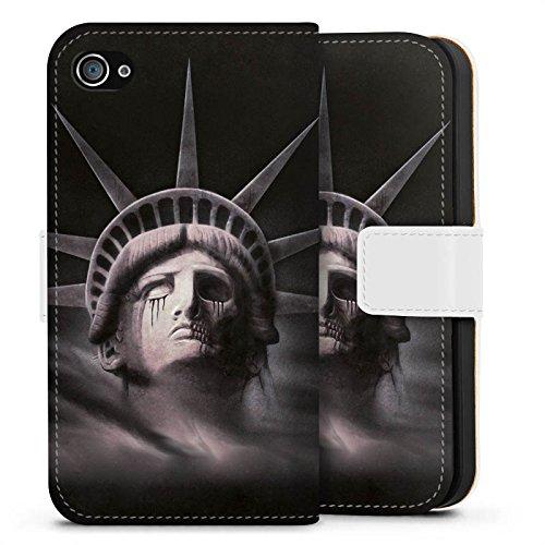Apple iPhone X Silikon Hülle Case Schutzhülle Freiheitsstatue Miss Liberty Schwarz Sideflip Tasche weiß
