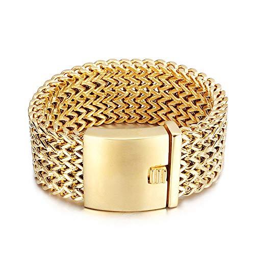 Heyrock Wide Gold Plated Mesh Link Bracelet 316L Stainless Steel High Polished Metel Bracelets for Men