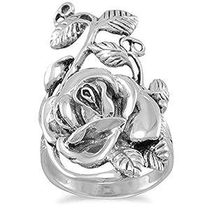 Ring aus oxidiertem Sterlingsilber, mit Rosenstiel, Blatt-Design, 18,5 mm x 32 mm, Ringgrößen: L bis T