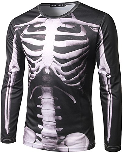 WHATLEES Herren Hip Hop Slim Fit langärmliges Sweatshirts mit 3D Bunte Schädel Skelett Print B397-05-M