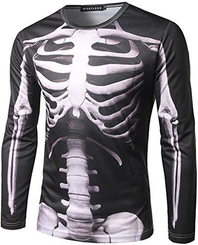 Hop Slim Fit langärmliges Sweatshirts mit 3D Bunte Schädel Skelett Print B397-05-M ()