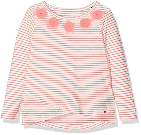 TOM TAILOR Kids Mädchen Langarmshirt Striped Longsleeve with Flower Orange (Flashy Coral 5458),