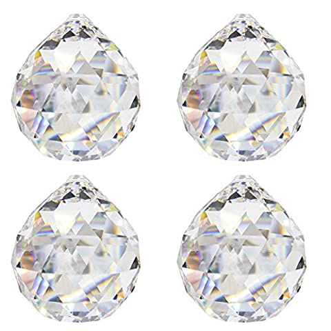 Crystal Ball d.20mm Esoteric–Pack of 4–Rainbow Crystal Feng Shui–Window Decoration–LEAD CRYSTAL 30% PBO–Multi-Faceted Crystal Decoration–Chandelier Decoration–Crystal/Light
