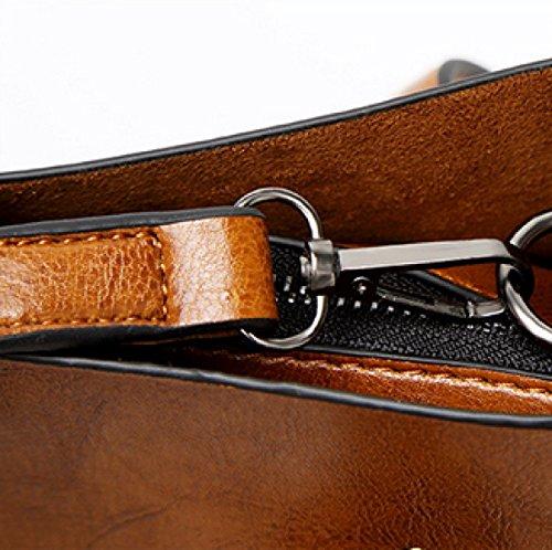 Neue Art- Und WeiseÖl-Haut-große Kapazitäts-Schulter-bewegliche Wilde Dame-Beutel,Black Brown
