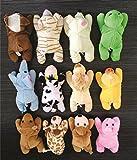 Skylofts Cute Imported 13cm Plush Stuffed Soft Toy Animals Puppet Magnets ( Pack of 12) Frog, Dog, Monkey, Rabbit, Elephant, Lion, Tweety, Mouse