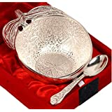 "Prisha India Craft Silver Plated Over Brass Apple Shape Bowl Set With Spoon Dry-Fruit Bowl Serving Bowl Diameter 4"" Inch With Velvet Box"