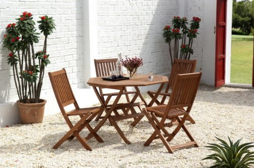 Scancom UK Ltd Cotswold FSC Eucalyptus Wood Outdoor 4 Seater Dining Set with Octangonal Table