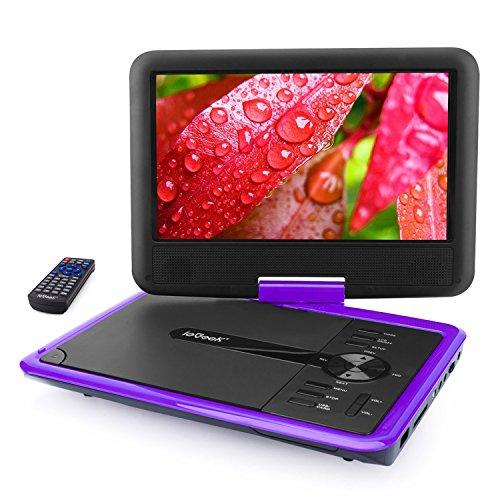 """ieGeek Lecteur DVD Portable 11.5"""" avec Écran Pivotant, Batterie Rechargeable de 5 Heures Jouer, Supporte Carte SD et Chargeur de Voiture Compatible avec AVI/RMVB/JPEG – Violet"""