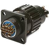 Hembra y macho y2m-16tk 16pin conector circular de aluminio negro de montaje Agujero 21,5mm/0.85inch