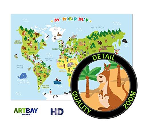 Kinder Weltkarte XXL - 118,8 x 84 cm - Weltkarte für Kinder mit fröhlichen Figuren und Tieren - Spielerisches Kennenlernen der verschiedenen Kontinente, Kulturen und Tiere der Welt - Schöne Wanddekoration für das Kinderzimmer und den Kindergarten oder als Geschenkidee. My World Map Kinderweltkarte
