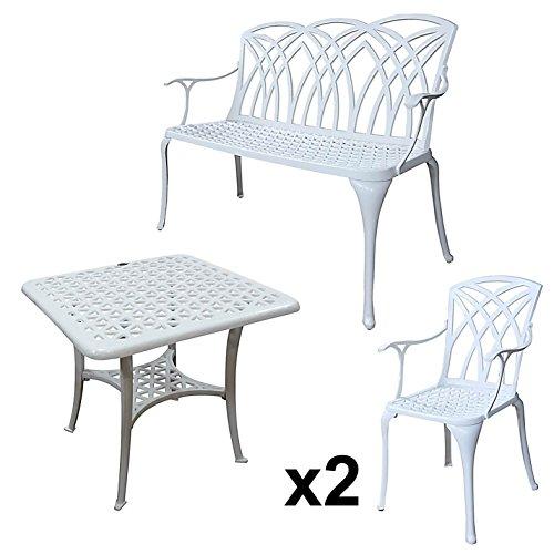 Lazy Susan - SANDRA Quadratischer Kaffeetisch mit 1 APRIL Gartenbank und 2 APRIL Stühlen - Gartenmöbel Set aus Metall, Weiß