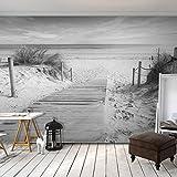 decomonkey | Fototapete Strand Meer 350x256 cm XXL | Design Tapete | Fototapeten | Tapeten | Wandtapete | moderne Wanddeko | Wand Dekoration Schlafzimmer Wohnzimmer | Schwarz weiß grau | FOB0002c73XL