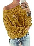 YOINS Schulterfrei Oberteile Damen Herbst Winter Off Shoulder Pullover Pulli für Damen Loose Fit mit Blumenmuster Gelb S