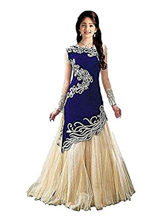 Dubai Creation Princess Baby Girls Birthday Party wear Blue Velvet Semi-Stitched gown (Baby Girl 8-12 Year_Free Size)