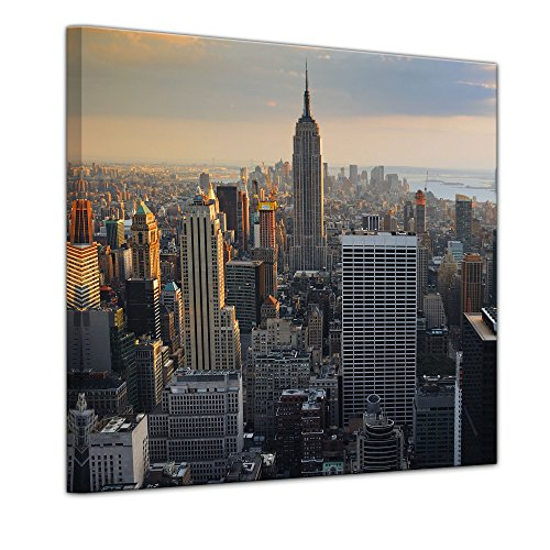 Kunstdruck - New York City II - Bild auf Leinwand - 40 x 40 cm - Leinwandbilder - Bilder als Leinwanddruck - Wandbild von Bilderdepot24 - Städte & Kulturen - Amerika - Stadtansicht von New York - Luftaufnahme von Manhattan Einfach Südlichen Baumwolle