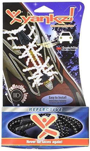 YANKZ Cordones Elástico cordones - Negro Blanco Reflectante, talla única