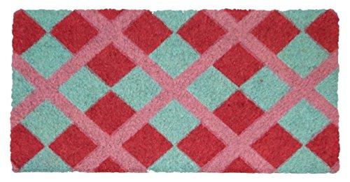 Felpudos Baratos con Diseño Rombos Rosa, PVC, Coco, 60 x 33 cm