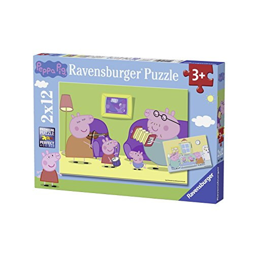 Ravensburger Puzzle – 07596 – Peppa Pig – zu Hause – 2 x 12 Teile